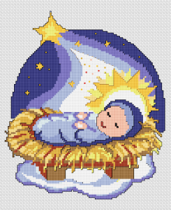 Christian cross stitch of baby Jesus and the Star of Bethlehem.
