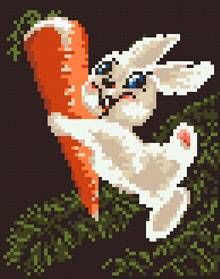Cute cross stitch pattern of a rabbit holding a carrot.