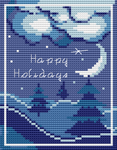 Stylized cross stitch pattern of a winter landscape with trees and the crescent moon.