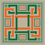 Wonderful geometric design for biscornu or other small crafts projects.