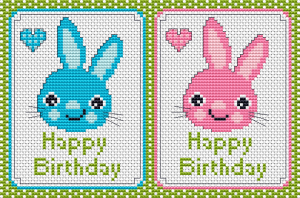 Baby pattern of a cute bunny next to a heart. Available in blue and pink.