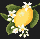 A cross stitch design of a flowering sprig of lemon fruit on black fabric.