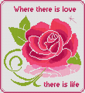 Beautiful decorative rose pattern with the text: Where there is love there is life.