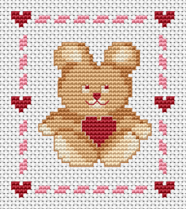 When we talk about love, we immediately imagine a sweet, little  bear holding a red heart.  This Teddy cross stitch pattern is surrounded by a pink frame of small hearts and brings joy to loved ones.Happy Valentine's Day!