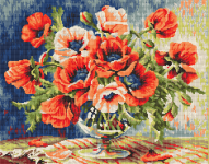 Wonderful design of a vase with poppy flowers in red and pink.