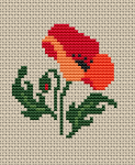 Small design of a red poppy flower suitable for many crafts projects.