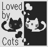 Black and white symmetric design of two cute cats and hearts with the text:Loved by Cats.