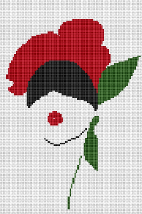 Abstract cross stitch portrait of a woman with a flower in her hair.