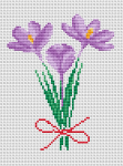 Bouquet of Crocuses whit a red ribbon counted cross stitch pattern.