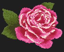 Cross stitch pattern  of a beautiful single purple rose on a black background.