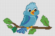 Cute little blue bird on a tree-branch.The chart contains full stitches and back stitches.