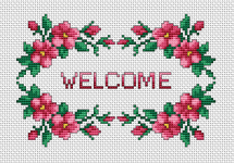 "Wonderful border of red roses framing the word: ""Welcome""."