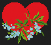 Cross stitch pattern of a great fiery heart and gentle bouquet of blue flowers for Valentine's Day.