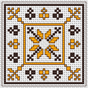 A simple biscornu with small geometric shapes. Ideal for beginners and requires just two colors.