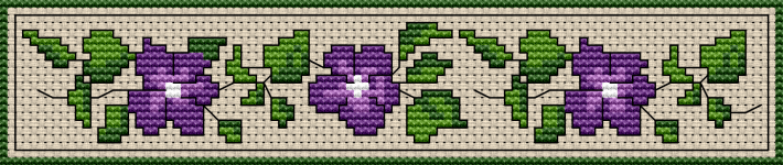 Beautiful pattern of morning glory flowers in violet and green. Add more attitude to your reading with this cross stitch bookmark.