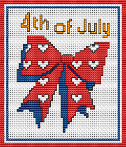 4th or July Ribbon cross stitch pattern