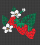 Adorable pattern of strawberries and flowerbuds on a black background