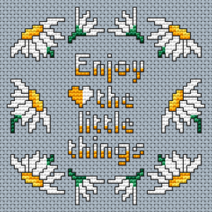 Composition of daisies, arranged in a border and the text: Enjoy the little things.