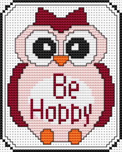 Cute cross stitch of a baby owl in pink and red wishing you to be happy!