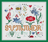 Summer-themed composition depicting stylized flowers and bees.