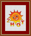 Cartoony design of the sun smiling down. Stitched with warm red, orange and yellow floss.