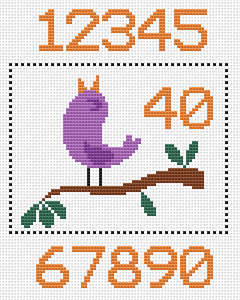 Cute pattern of a purple singing bird. An ideal design for birthday and anniversary cards.