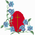 One model for Easter with flowers, traditional red egg and The Cross.