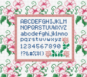 Cross stitch alphabet and digits with character height of 6 stitches. Suitable for stitched cards, quotes or other crafts projects.