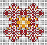 Beautiful motif in red and yellow based on traditional Bulgarian cross stitch.