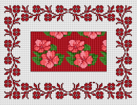 Monochrome border in red, inspired by the Busy Lizzy flower.