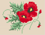 A group of beautiful red poppies cross stitch  pattern.