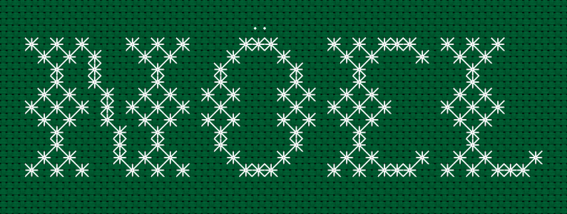 14 count Christmas Green Aida.Text:NOEL.Smyrna cross stitch technique.