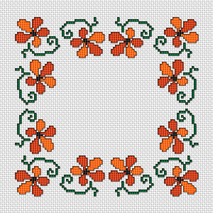 Decorative floral border in warm colors,orange and rust.