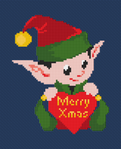 A Christmas Elf holding a heart and wishing you: Merry Xmas!