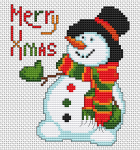 Cute snowman with a top hat and scarf and the text:Merry Xmas.