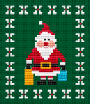 Christmas gifts shopping with smiling Santa designed for 14 count green fabric.