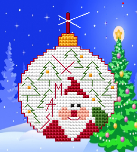 Santa Claus decoration with lot of snow, trees and the text:Xmas.