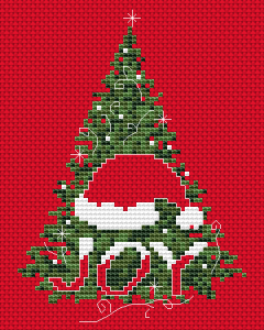 "This card is designed for Christmas red Aida 14 ct and depicts Christmas tree, Santa hat and the text:""JOY"""