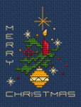 "Beautiful Christmas card designed for dark blue fabric depicting a red candle,yellow decoration,stars and the text:""Merry Christmas""."