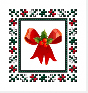 An easy to stitch small border or frame in red,white and green colors