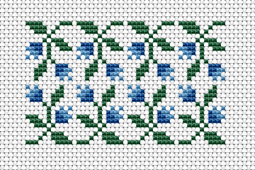 A small composition of decorative blue flowers for beginners. The pattern contains only full stitches.