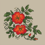 Group of beautiful flowers in red and orange designed for 14 count Cream Aida.