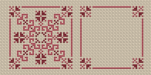 Simple biscornu pattern in pink colors.The chart contains both the front and back sides.