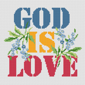 God is love bible verse.The text is surrounded by bouquets of fine blue flowers.