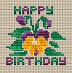 Beautiful greeting card for someone special with pansies and the text:Happy Birthday.