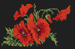 "Download and print the ""Poppy Bouquet"" cross stitch pattern"