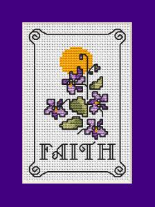 "An inspirational pattern  to  express your faith.Includes small composition of violets flowers and the text:""Faith"""