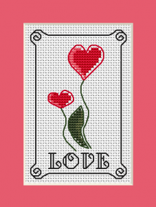 "Every day is a day to express your love.An inspirational cross stitch design with two red flowers/hearts and the text:""Love"""