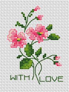 "A composition of beautiful pink flowers and buds designed for cards making.The chart contains the text:""With love"""