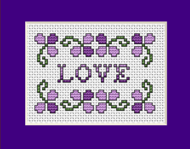 "A small floral design in violet colors with the text:""Love"" for making cards to celebrate  Valentine's Day"